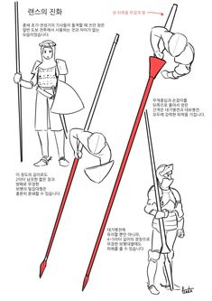 European Musketeers and Pikemen, and how to deploy to defend against a Cavalry charge with lances. Text in Korean. Drawing Reference Poses, Drawing Skills, Drawing Tips, Art Reference, Armadura Medieval, Manga Drawing Tutorials, Drawing Techniques, Medieval Art, Medieval Fantasy