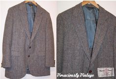NOS Vintage Wool HARRIS TWEED 38 R Sport by VoraciouslyVintage