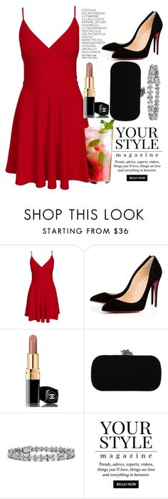 """""""Lady in red"""" by mari-marishka ❤ liked on Polyvore featuring Club L, By Terry, Christian Louboutin, Chanel, House of Harlow 1960, Blue Nile and Pussycat"""