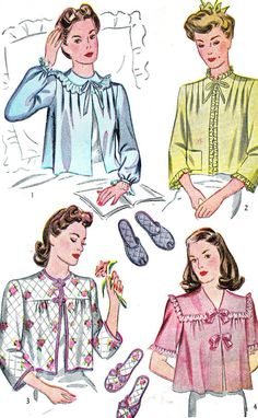 1940s Bed Jacket and Slippers Pattern Simplicity 4756 Loose Fitting Bed Jacket Quilted Peep Toe Slippers Bust 34