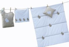 Rabbit cot quilt set and fluffy bunny from White Rabbit England Kids Lamps, Cot Quilt, Baby Nursery Bedding, Make Design, Quilt Sets, Night Light, Bedding Sets, Baby Gifts, Rabbit