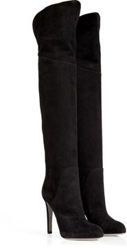 Sergio Rossi Suede Over-the-Knee Boots in Black on shopstyle.com
