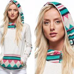 PRETTY HOODED TOP W/ AZTEC DETAIL!  Comfy Top W /Pretty Aztec Hood &, Sleeves & Pocket! Tops
