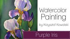 Watercolor painting - Purple iris