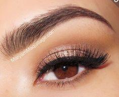 White, Black and Gold Wedding Make up. Brown eye makeup