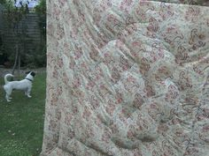 An eiderdown recover, the before! Beautiful original fabric, tired due to age.