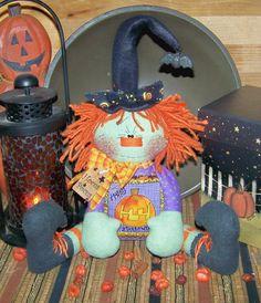 Primitive Raggedy Halloween Witch Doll Shelf Sitter Pattern 50