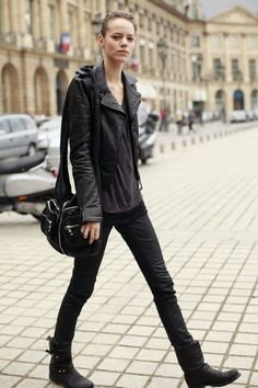 all black, leather, androgynous, boots
