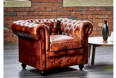 Leather Chesterfield Armchair | Absolute Home