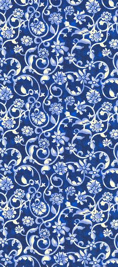 Blue white vine design twisted twig leaf flower floral elegant vintage pattern background wallpaper