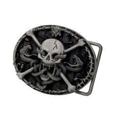 Buckle Rage Adult Mens Skull  amp  Crossbones with Snakes Western Belt  Buckle Silver!  7.49 3d0e9a31ec8