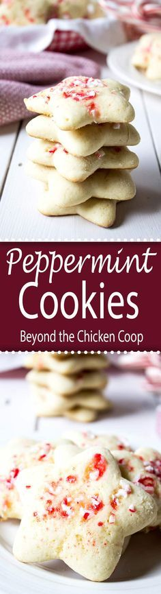 Sugar cookies baked with crushed peppermint candies are perfect for your holiday cookie tray.