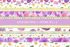 Watercolor Patterns 2 by Angie Makes on Creative Market