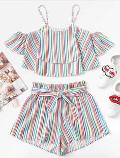 Fashion Kids Baby Girls Stripe Off Shoulder Tops Shorts Pants Outfit Clothes Set Toddler Girl Outfits baby clothes Fashion Girls kids outfit Pants set Shorts Shoulder Stripe Tops Teen Fashion Outfits, Fashion Kids, Kids Outfits, Work Outfits, Fashion Clothes, Crop Top Outfits, Crop Top And Shorts, Cute Summer Outfits, Cute Casual Outfits