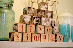Mod-podging photos on objects like wooden blocks or ornaments are a fun way to display them in the home without cluttering your space with picture frames.