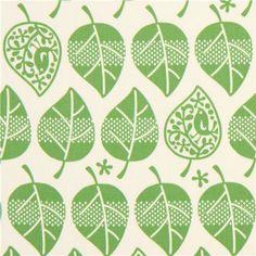 Stoff Vögel - 171514 creme Oxford Stoff grünen Blättern - ein Designerstück von modes4u bei DaWanda