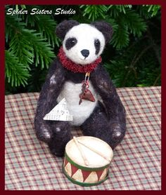 Primitive Needle Felted Miniature Panda by SpiderSistersStudio