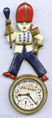 Vintage Du Barry Patriotic WW2 RED White Blue Soldier Faux Watch Brooch