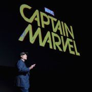 Kevin Feige at event of Captain Marvel (2018). Making the movie based on the female version of Captain Marvel.