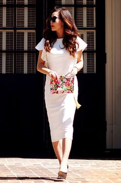 5.13 white dress + floral clutch (ASOS white flutter-sleeve dress + Jimmy Choo metallic pumps + ASOS floral clutch + Thierry Lasry sunnies)