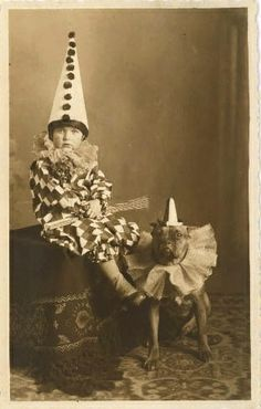 """a toddler dressed as Pierrot, with """"nanny dog""""- pitbull, Vintage Photographs, Vintage Images, Funny Vintage Pictures, Pierrot Clown, Vintage Halloween Photos, Halloween Pictures, Vintage Circus Photos, Nanny Dog, Image Beautiful"""