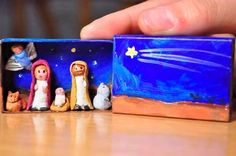 Pre make the little figures and the craft would be to dress them and paint the match box. Fimo would work well, or even a small bead on a bit of pipe-cleaner with wool wrapped round and glued. Christmas Nativity Set, Christmas Love, Winter Christmas, Nativity Sets, Nativity Crafts, Xmas Crafts, Christmas Projects, Matchbox Crafts, Matchbox Art