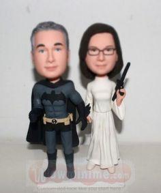 Batman groom with Princess Leila bride cake topper