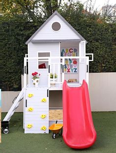 Conserve Backyard space with the Emerson Cubby House. This beautiful elevated Cubby House has a Climbing wall, Slide and Sandpit. It's a great way for your children to enjoy the outdoors on a sunny (or even rainy) day. Cubby House Kits, Kids Cubby Houses, Kids Cubbies, Play Houses, Kids Backyard Playground, Backyard Playhouse, Natural Playground, Backyard For Kids, Kids Playhouse With Slide