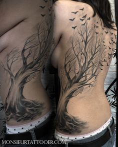 beautiful tree and birds side and back tattoo Monsieur Tattooer. I'd never have the guts to get such a large tattoo, but this is gorgeous.