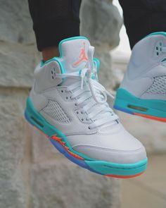 Release Date : July 14, 2018 Air Jordan 5 Retro Light Aqua Credit : FinishLine — #nike #jordan #retro #sneakerhead #sneakersaddict #sneakers #kicks #footwear #shoes #fashion #style