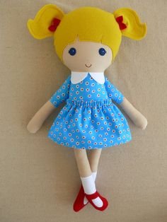 Fabric Doll Rag Doll Blond Haired Girl in Sweet by rovingovine