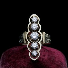 Diamond and Enameled Navette Ring from LAELIUS Antiques | Julers Row