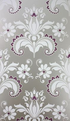 Talisa Wallpaper in Gray and Purple from the Giverny Collection by Nina Campbell Victorian Wallpaper, Nina Campbell, Grey Wallpaper, Wallpaper Online, Burke Decor, Designer Wallpaper, Beauty Skin, Damask, Printing On Fabric