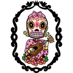 Ukelele Playing Sugar Skull Girl Print