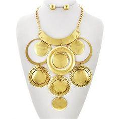 """17 1/2"""" Matte Gold Tone Charm Necklace Set"""
