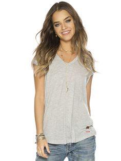 Solid Heather Logan Fashion V-Neck Top