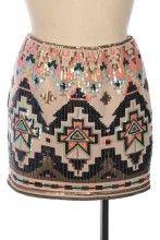 Sequin Aztec Mini Skirt
