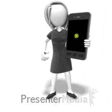 ID# 18594 - Icon Female Smart Phone (Looping) - PowerPoint Animation