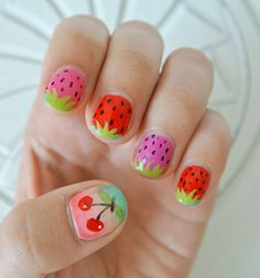 Here are our Adorable Cute And Superb Nail Art For Kids. You can see this all kids nail art and select easy nail art designs to do at home for Kid nails. Cute Kids Nails, Nail Art For Kids, New Nail Art, Easy Nail Art, Cool Nail Art, Fruit Nail Designs, New Nail Designs, Simple Nail Art Designs, Colorful Nail Designs