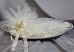 wedding stefana on tray wrapped with tulle and koufeta for Greek Orthodox weddings Orthodox Wedding, Greek Wedding, Custom Design, Tray, Tulle, Wedding Ideas, Weddings, Contemporary, Deco