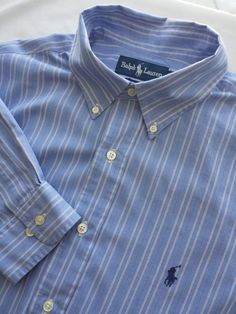 Ralph Lauren Shirt 16 1/2 36-37 100% Cotton Blue & White Striped Yarmouth #RalphLauren