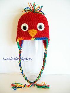 Crochet Red Parrot Bird Hat