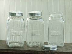 Vintage Style Coffee, Tea, Sugar Glass Canisters. How cute are these??