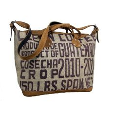 Recycled burlap coffee bag with leather trim.  Purse!  I love this!