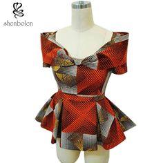 The summer of 2017 African women garment Ankara batik wax printing of cotton short sleeved shirt collar V free shipping