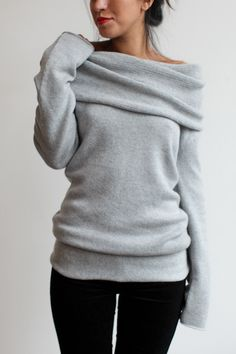 souchi claudia cashmere cowl neck sweater