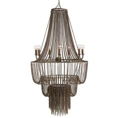 Draped strands of tiny beads resemble metal chains on the Maxim chandelier by Arteriors