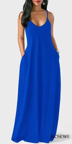 Blue Spaghetti Strap Open Back Pocket Decorated Maxi Dress Open Back Pocket Decorated Royal Blue Dress Women's Dresses, Trendy Dresses, Women's Fashion Dresses, Casual Dresses, Dresses Online, Blue Maxi Dresses, Fashion Clothes, Red Maxi, Spring Dresses