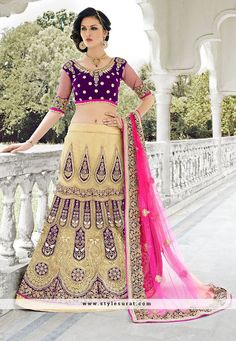 Beige And Purple Color Designer Stylish Lehenga Style Saree