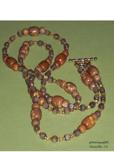 Beadwork Assorted Wood with Citrine Beads 44 1/2 by grammysgift6, $40.00